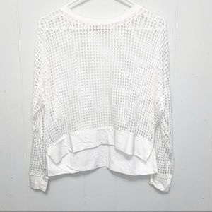 Townsen White Long Sleeve Open Knit Cotton Top